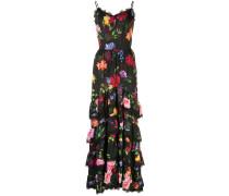 Robe mit Blumen-Print - Schwarz