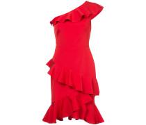 Einschultriges Kleid mit gerüschten Details - Rot