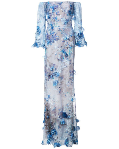 Robe mit Blumenmuster - Blau