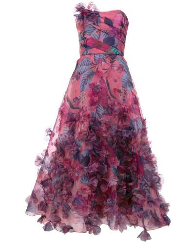 Florales Abendkleid mit schulterfreiem Design - Rosa