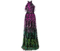 Abendkleid mit floralen Stickereien - Schwarz