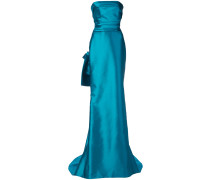 strapless flared maxi dress - Blau