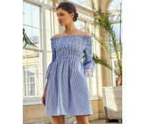 Besticktes Bardot-kleid Mit Streifenmuster