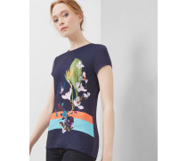 Tailliertes T-Shirt mit Tropical Oasis-Print