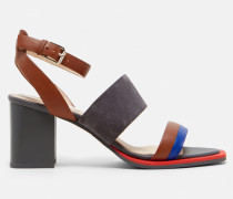 Colour-block suede heeled sandals