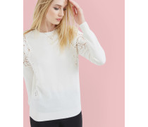 Jacquard-Sweater mit Spitze