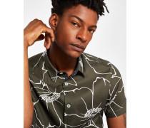 Baumwoll-hemd Mit Floralem Linien-print
