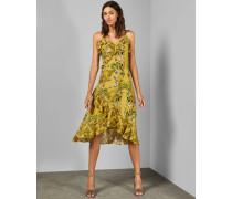 Kleid mit Rüschen und Royal-Palm-Print