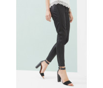 Beschichtete Skinny Jeans mit Kordeldetail