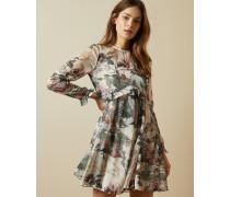 Langärmliges Kleid mit Rüschendetails und Willow-Print