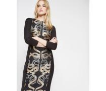 Kleid mit Jacquard-Einsätzen und Schlangenmotiven