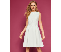 Strukturiertes Kleid Mit Spitzen-mieder