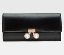 Matinee-Portemonnaie aus Leder mit Kristall