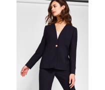 Collarless Wool Suit Jacket
