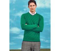 Strukturierter Pullover Mit V-ausschnitt