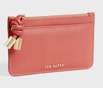 Knotted Leather Detail Zip Card Holder
