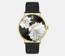 Clove Printed Leather Strap Watch