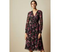 Kleid mit Tiefem Ausschnitt und Fern Forest-Print