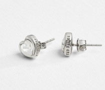 Herzförmige Ohrringe mit Kristallen