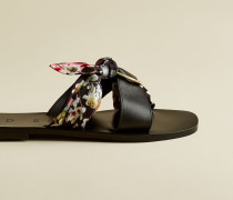 Leather Scarf Detail Slip On Sandals