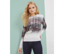 Pullover Mit Sparkling Swan-print