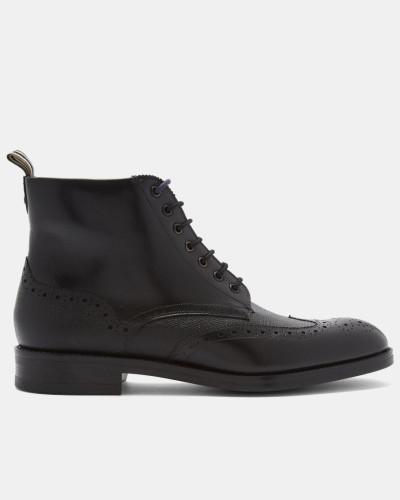 Stiefel aus Leder mit Schnürung und Brogue-Details