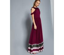 Imperial Stripe Ruffle Trim Maxi Dress
