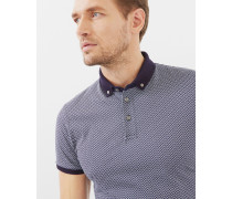 Baumwoll-Polohemd mit rechteckigem Geo-Print