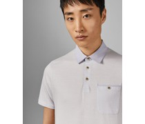 Woven Collar Cotton Polo Top