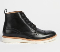 Lace-Up Leather Brogue Boots