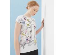 Tailliertes T-Shirt mit Passion Flower-Print