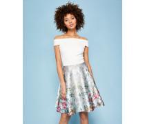 Bardot-Kleid mit Patchwork Floral-Print