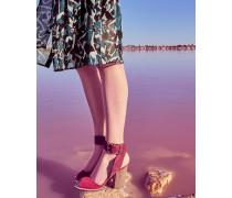 Suede Stripe Heel Detail Sandals