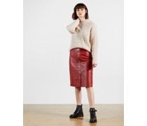 Leather Button Front Pencil Skirt