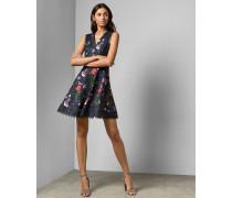 Skater-Kleid mit V-Ausschnitt und Hedgerow-Print