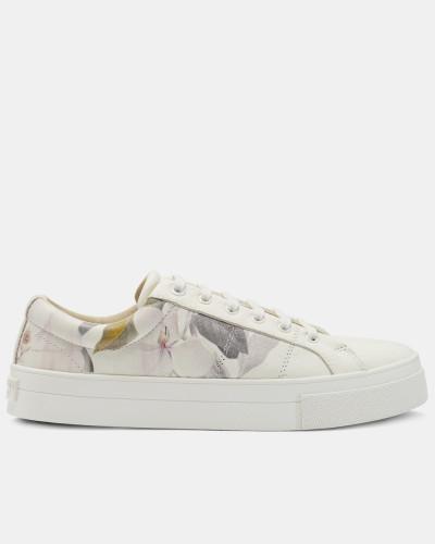 Bedruckte Leder-Sneakers