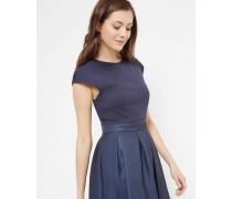Kleid mit weitem Rock und Neon Poppy-Print