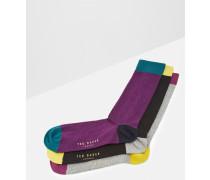Geripptes Socken-Set in Blockfarben