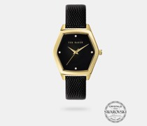 Hexagonal Leather Strap Watch