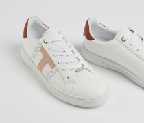 Leather Perforated T Detail Trainers