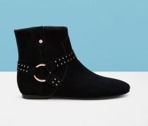 Nietenbesetzte Ankle Boots Aus Wildleder