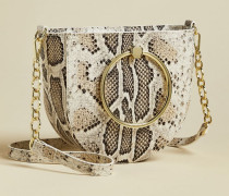Snake Effect Circular Ring Cross Body Bag