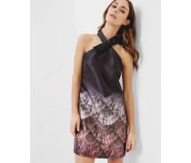 Kleid mit Fan Ombré-Print, überkreuzten Trägern und Schleife