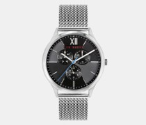 Stainless Steel Engraved Mesh Strap Watch
