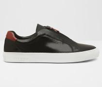 Leder-Sneakers mit Zip-Detail