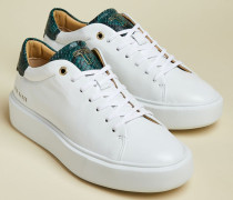 Snake Effect Leather Platform Trainers