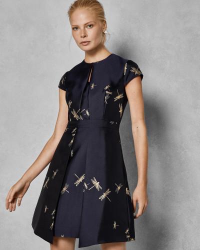 Jacquard-Kleid mit Sugar Plum-Print