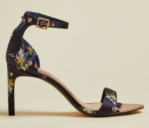 Leather Floral Stiletto Sandals