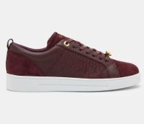 Leder-Sneakers mit Kontrastborte