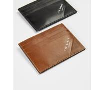 Kartenhalter aus Leder mit Prägung in der Ecke
